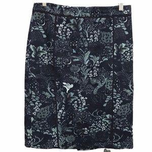 Ann Taylor Navy Blue/Floral Pencil Skirt Size 6